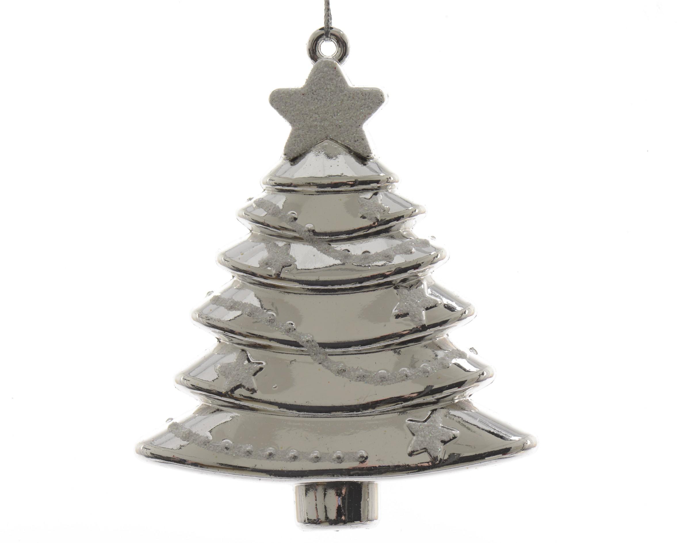 Vánoční ozdoba stromek stříbrná plast