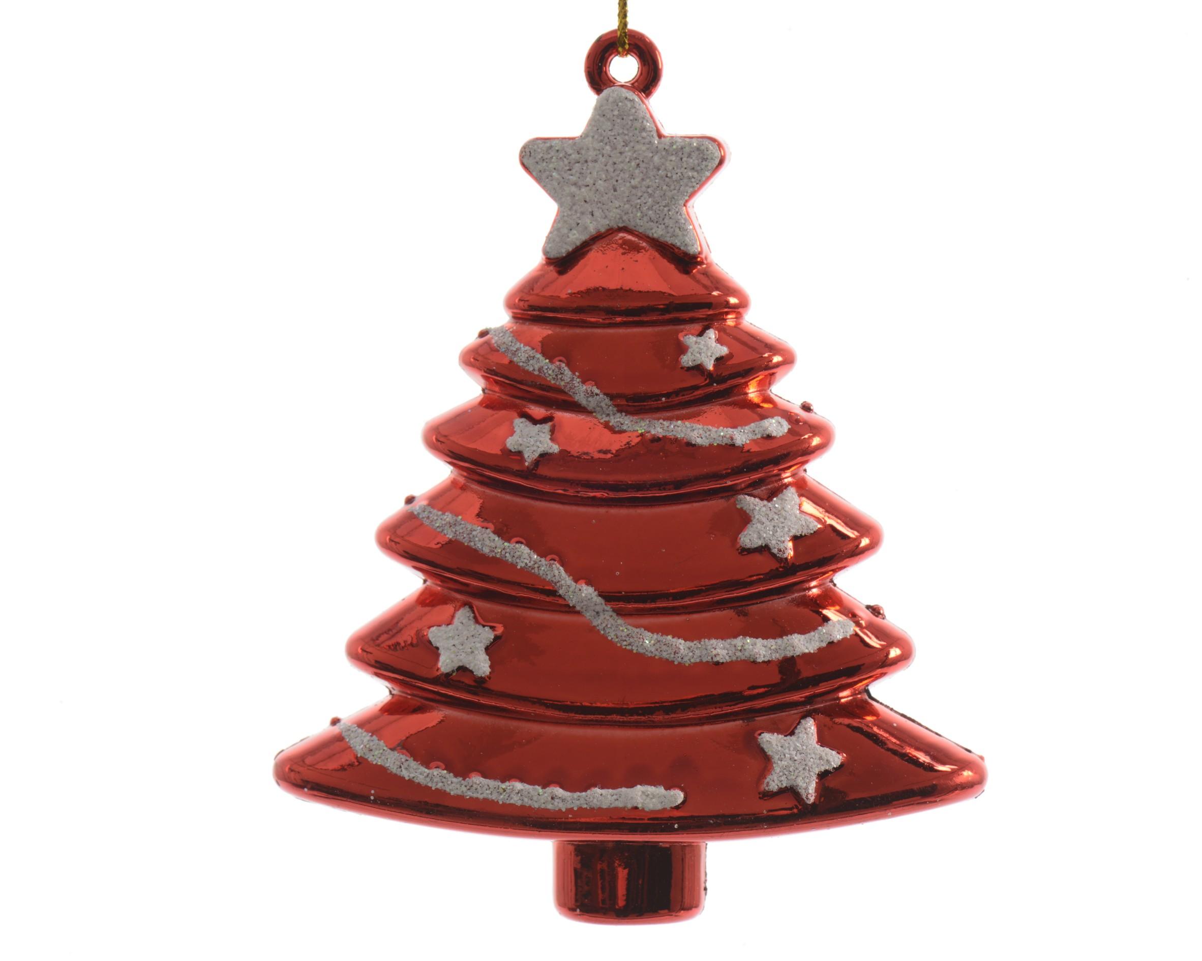 Vánoční ozdoba stromek červená plast 2ks