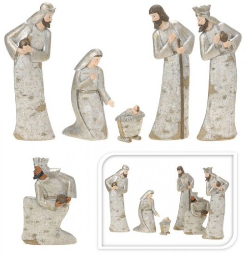 Betlém 6ks keramických figurek design březová kůra