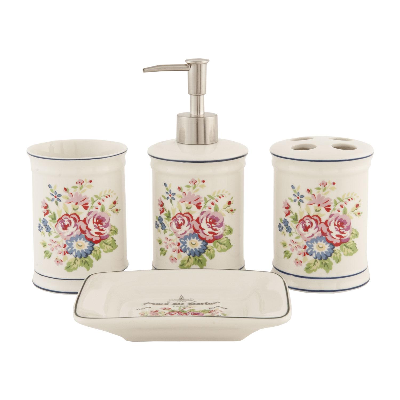 Koupelnová keramická sada- květinový motiv