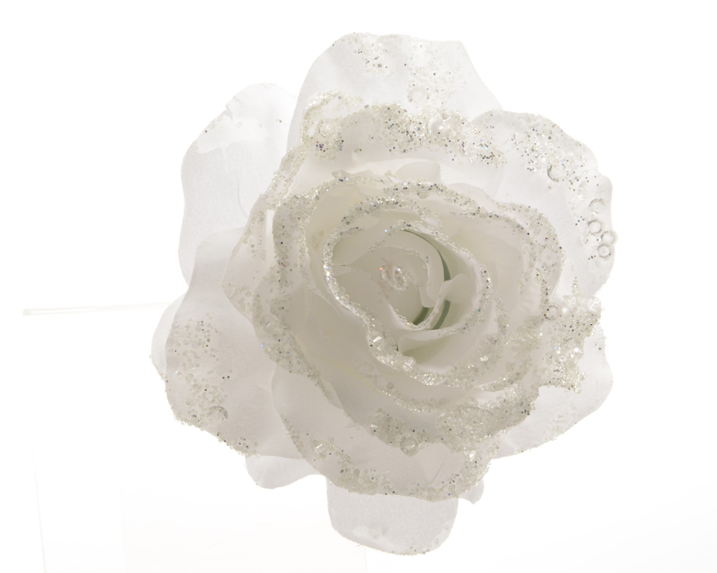 Umělá růže bílá s glitry