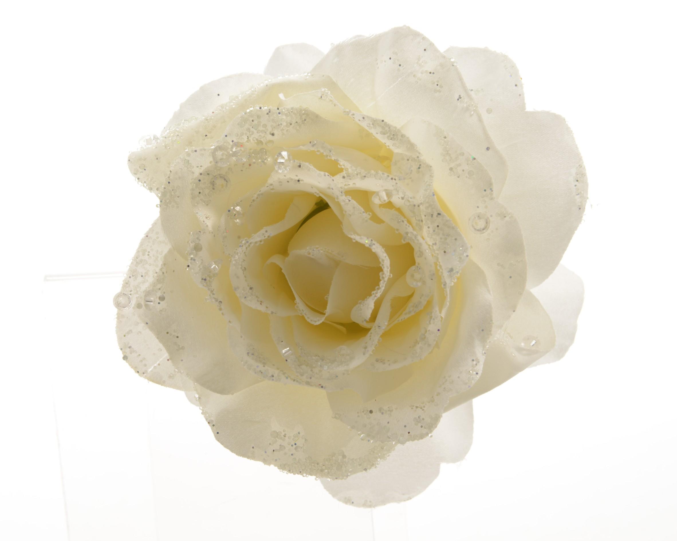 Umělá růže krémová s glitry