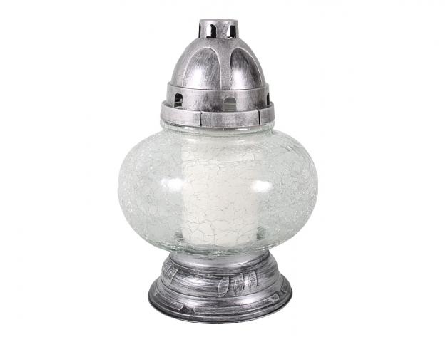 Lampa hřbitovní skleněná LED.KOULE 450g čirá