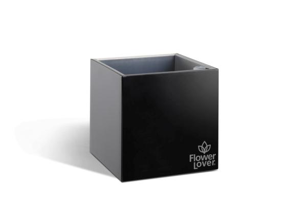 Samozavlažovací květináč CUBICO 9cm černá