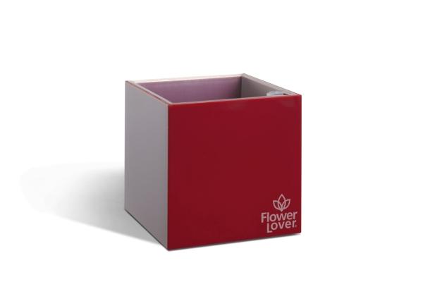 Samozavlažovací květináč CUBICO 9cm červená