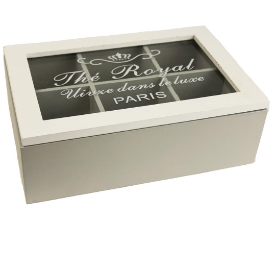Dřevěná krabice na čaj Paris