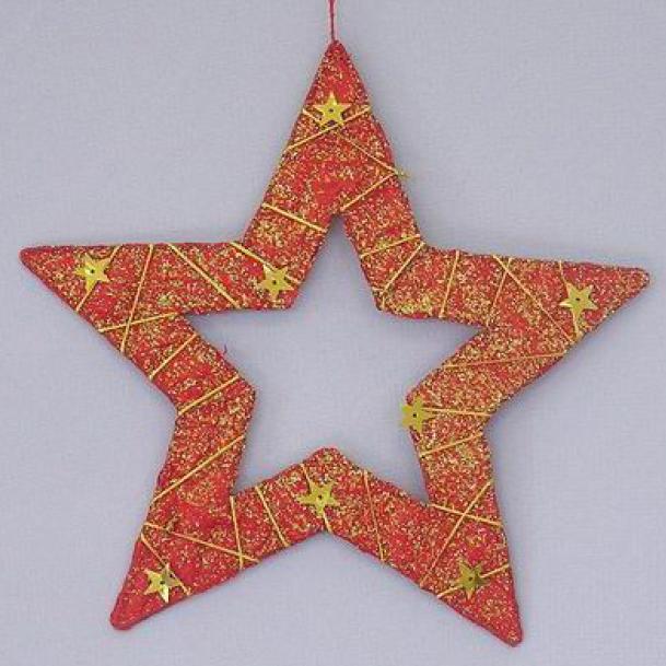 Hvězda vánoční červený papír 20cm