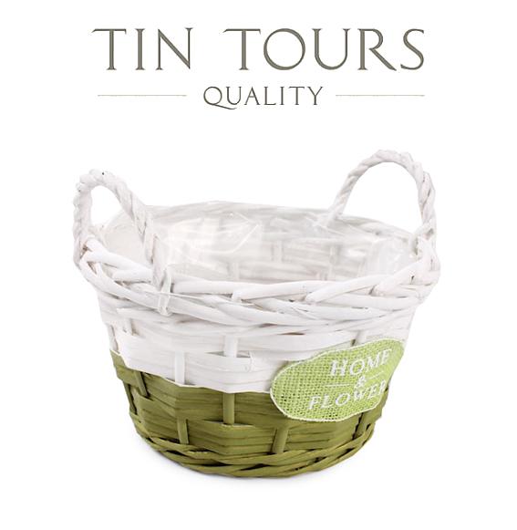 Proutěný obal s uchy Home Flower bílo zelený velký TNT