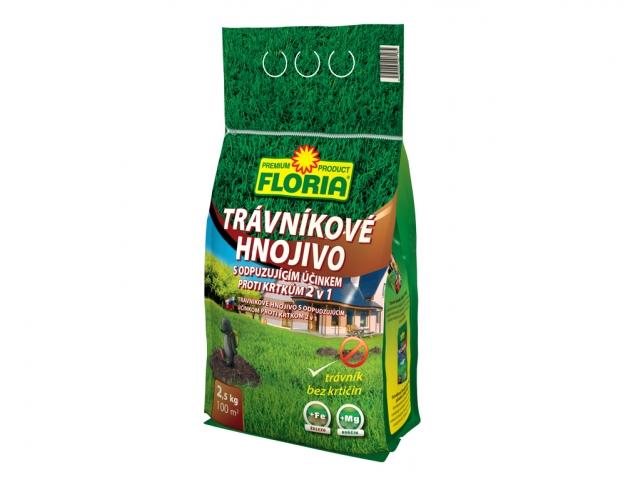 Hnojivo Agro FLORIA Trávníkové hnojivo s odpuzujícím účinkem proti krtkům 2,5kg