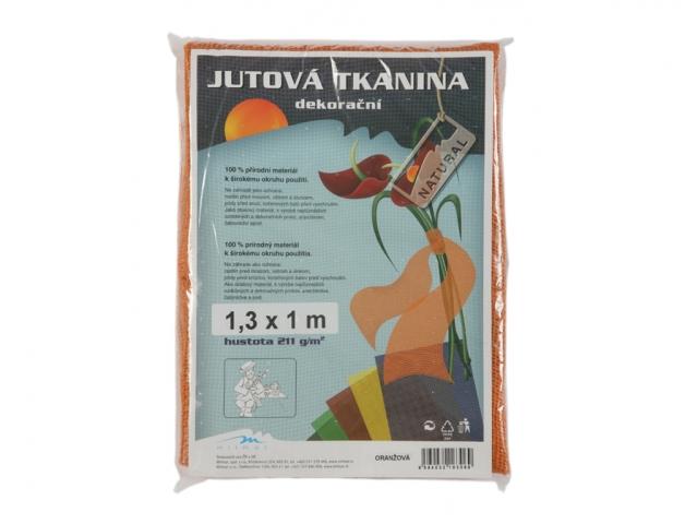 Tkanina dekorační jutová 1.3x1m oranžová
