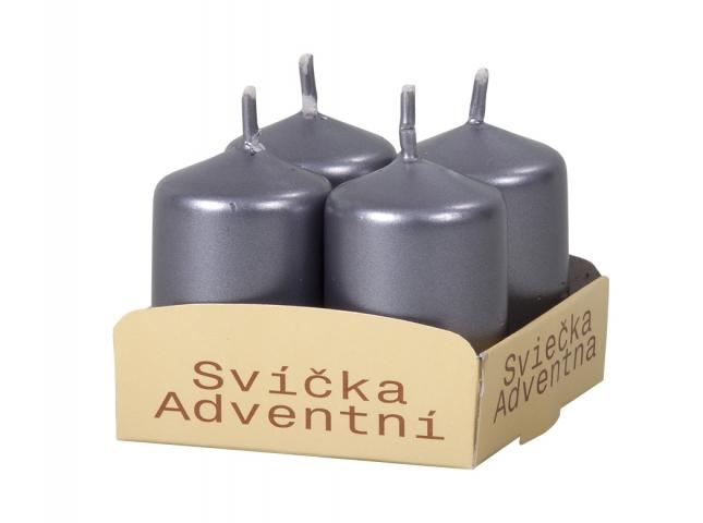Svíčka adventní d4x8cm/4ks metalická lesklá tmavě šedá