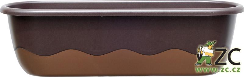 Truhlík samozavlažovací Mareta - 60cm čokoládová + bronzová