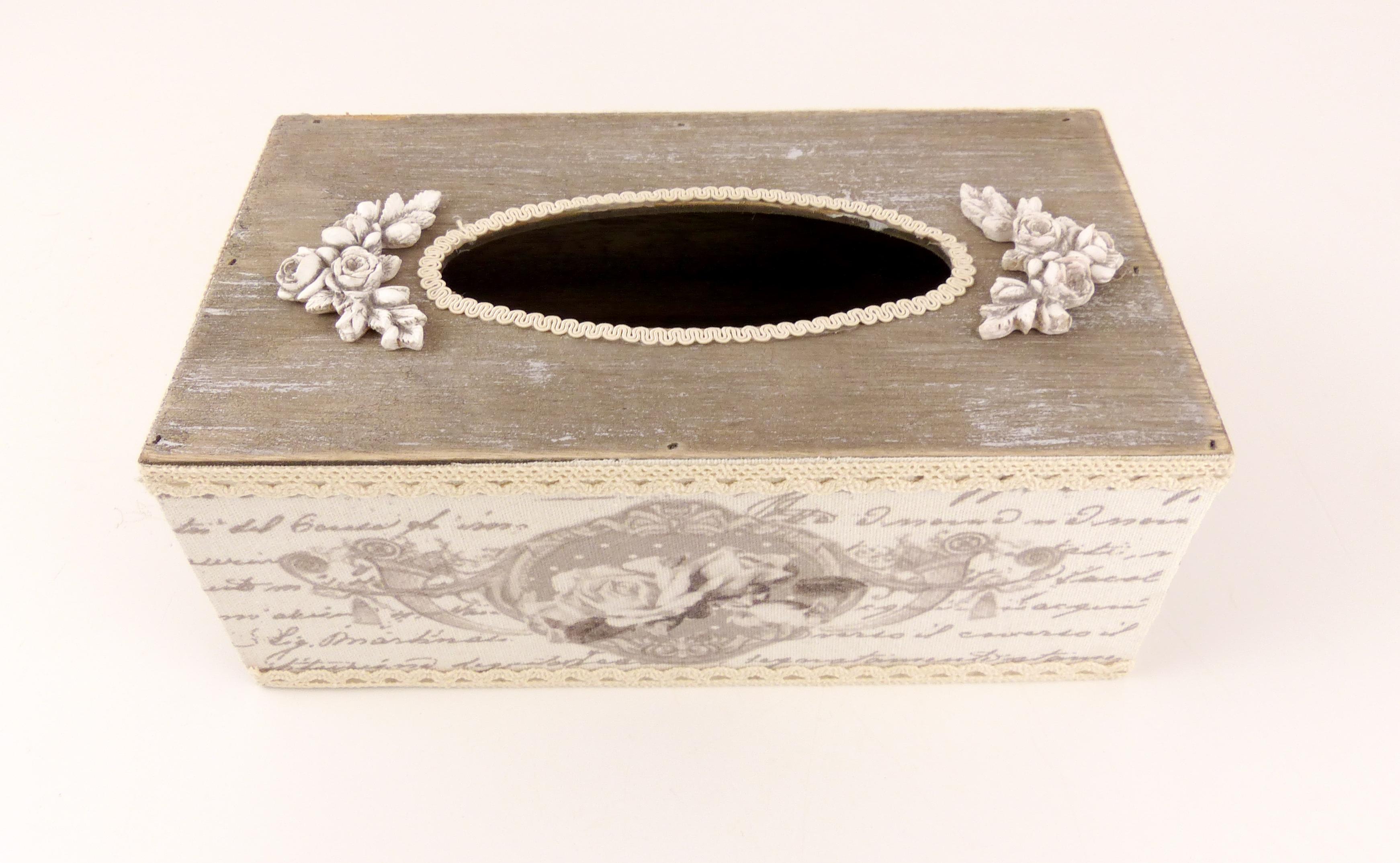 Dřevěná krabice na kapesníky šedá