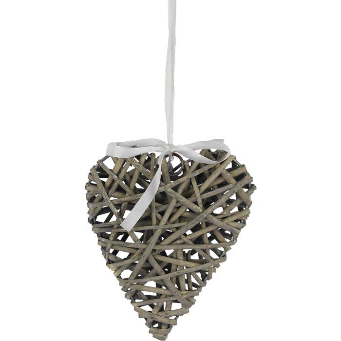 Srdce proutěné šedé 20cm