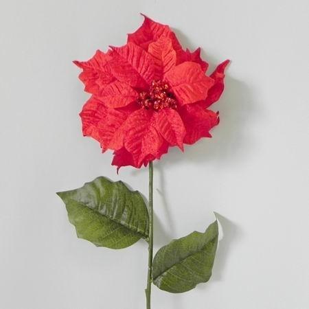 Vánoční hvězda umělá dlouhá v červené barvě