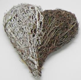 Proutěné srdce hnědobílé