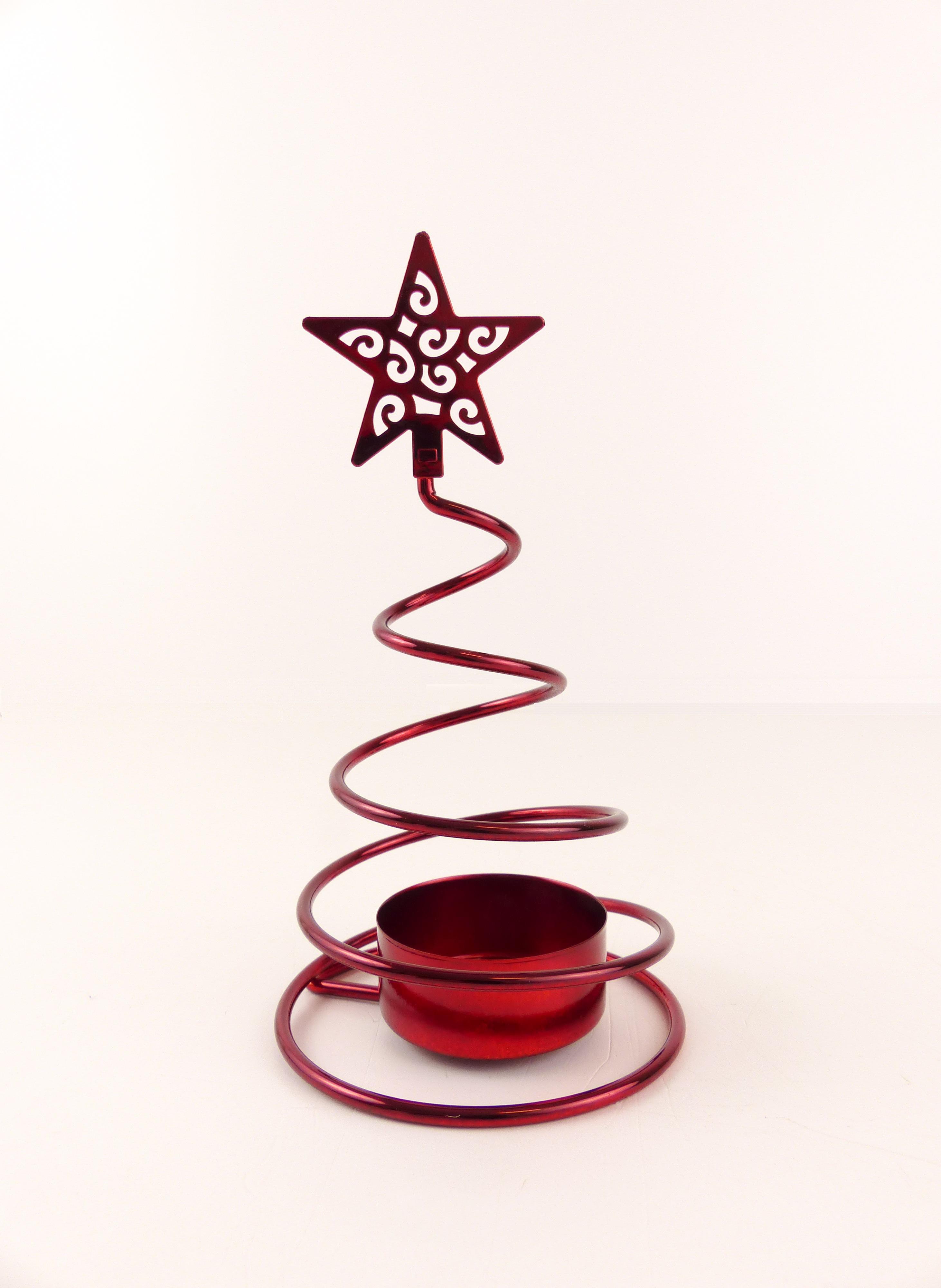 Svícen na čajovou svíčku stromek s hvězdou