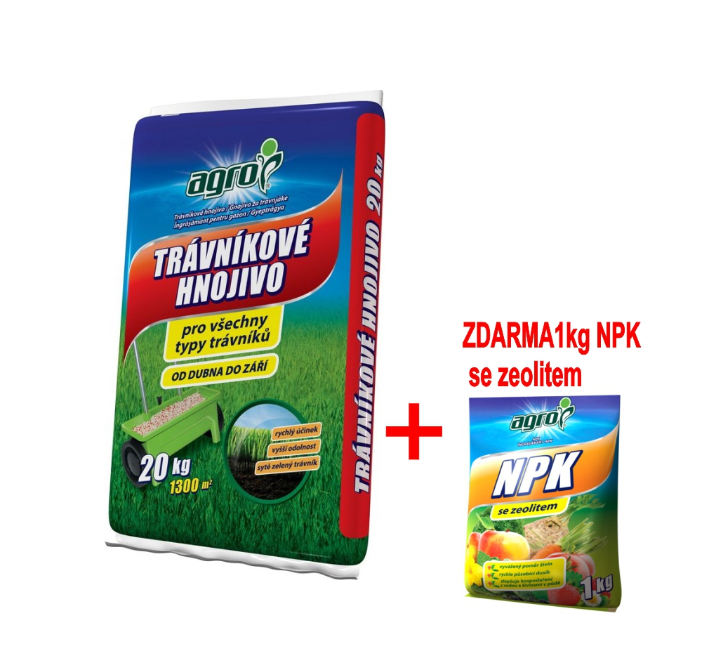 Hnojivo Agro Trávníkové 20 kg + zdarma NPK 1kg pro celou zahradu