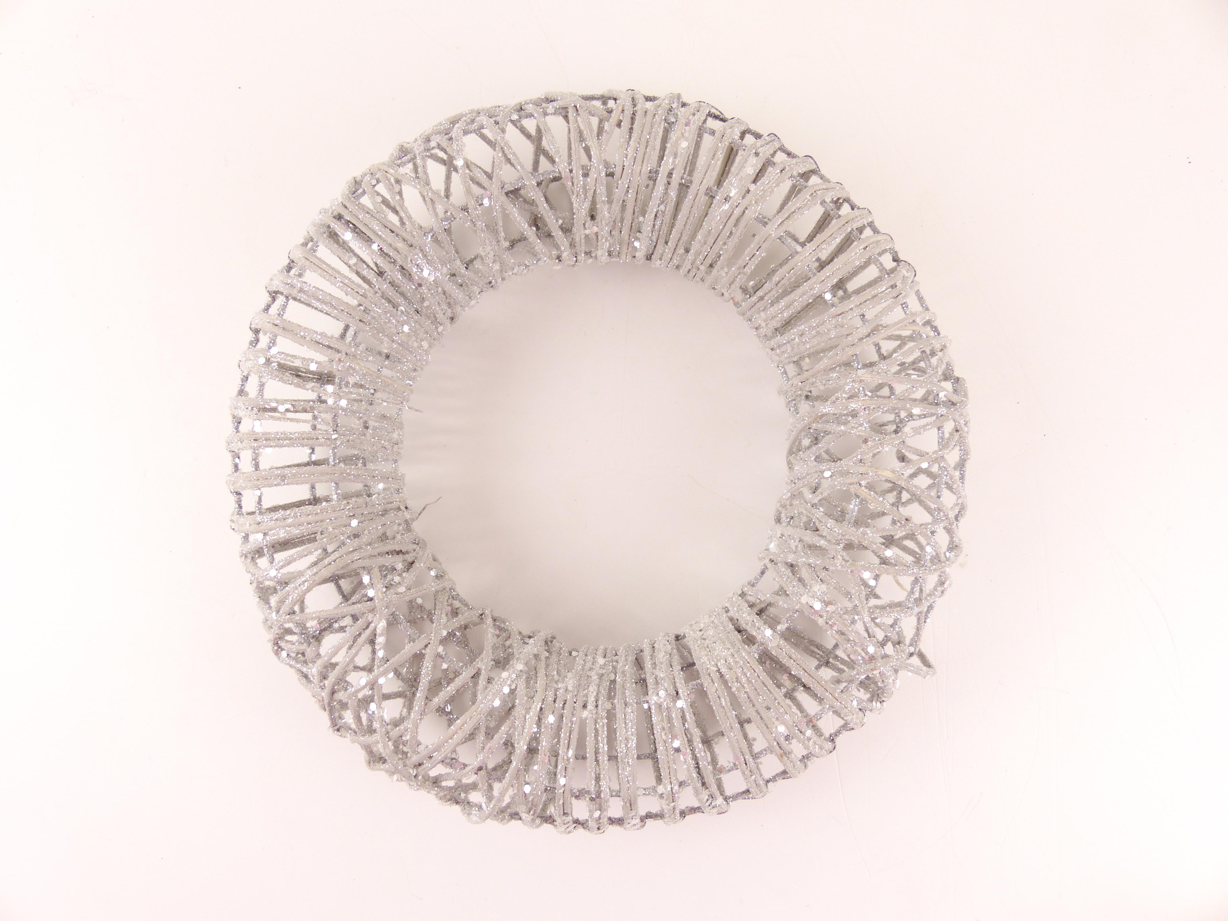 Věnec z proutí s glitry, stříbrný pr.23cm