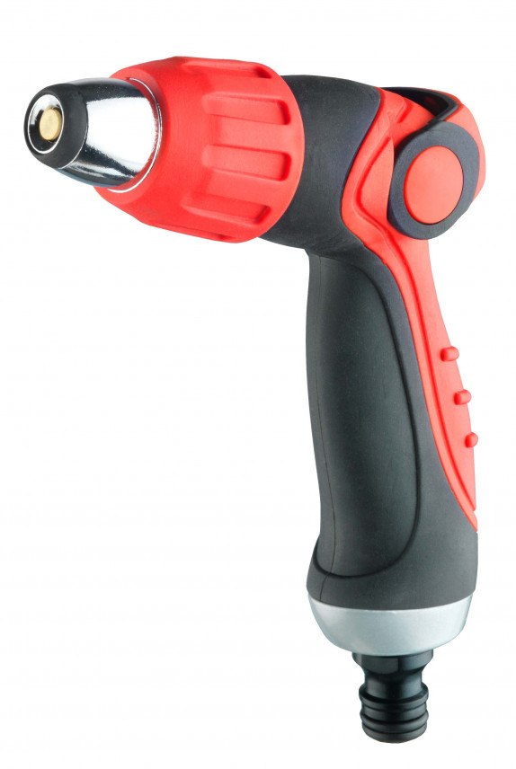 zahradní pistole, nastavení postřiku, regulace průtoku, zámek, ergonomie