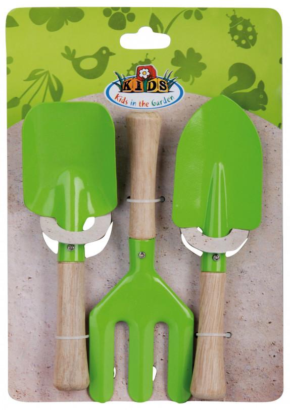 Dětský set-hrabičky a 2lopatky zelené EGO