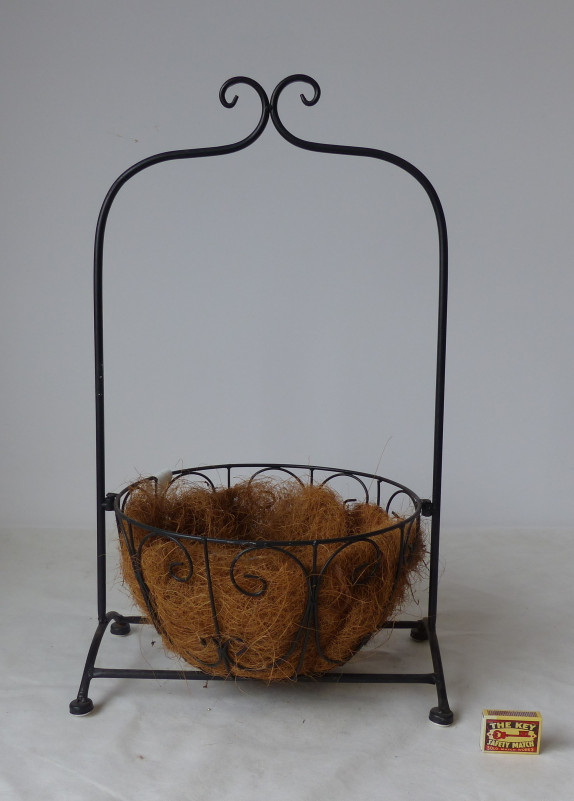 Držák na květiny kov/kokosové vlákno 37x30x53cm